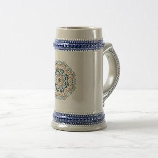 Adorno indio redondo azul de la mandala el | jarra de cerveza