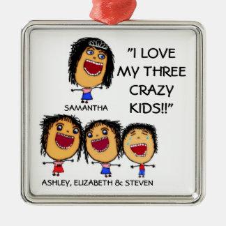 Adorno Metálico Amo mi tres navidad loco Ornam del dibujo animado