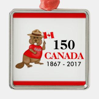 Adorno Metálico Aniversario orgulloso canadiense del castor 150