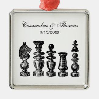 Adorno Metálico Arte del vintage de los pedazos de ajedrez