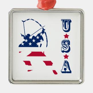Adorno Metálico Bandera americana del archer del tiro al arco de