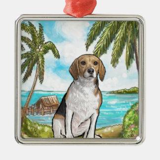 Adorno Metálico Beagle en la playa tropical de las vacaciones