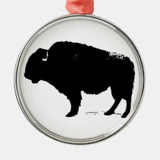 Adorno Metálico Bisonte negro y blanco del búfalo del arte pop