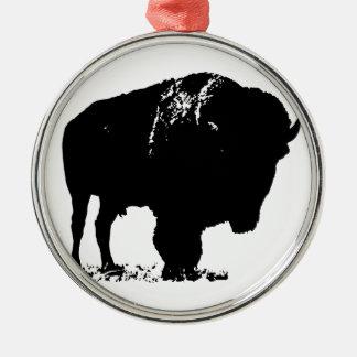 Adorno Metálico Búfalo negro y blanco del bisonte del arte pop
