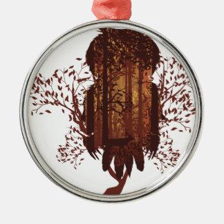 Adorno Metálico Búho y bosque Landscape2 del otoño