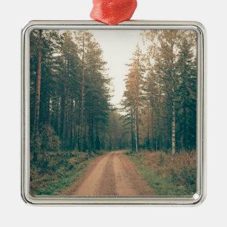 Adorno Metálico Camino de tierra de Brown entre los árboles con