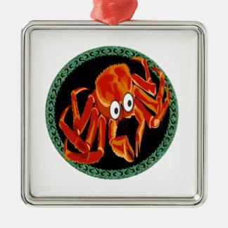 Adorno Metálico Cangrejo de rey anaranjado tropical del mar del