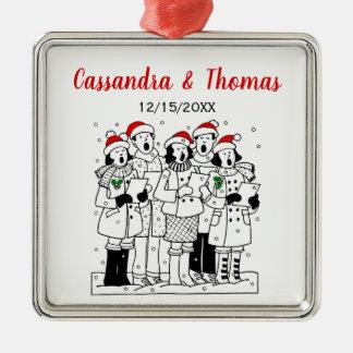 Adorno Metálico Carolers festivos del navidad con Navidad de la