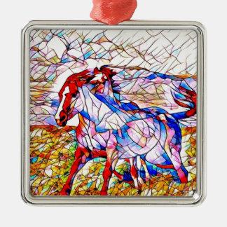 Adorno Metálico Carrera de caballos del vitral