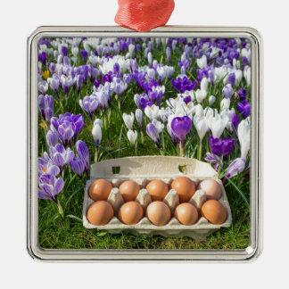 Adorno Metálico Cartón de huevos con los huevos del pollo en
