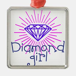 Adorno Metálico chica del diamante, gema que brilla