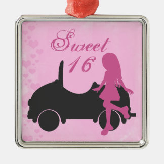 Adorno Metálico Chica y coche de la silueta del dulce 16 del rosa