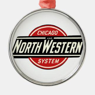 Adorno Metálico Chicago y logotipo del noroeste 1 del ferrocarril