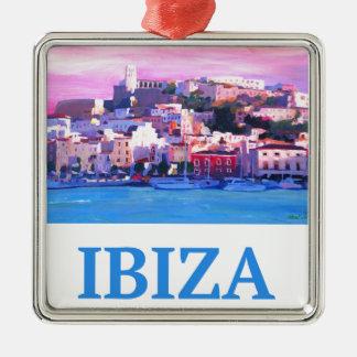 Adorno Metálico Ciudad y puerto viejos de Ibiza del poster retro