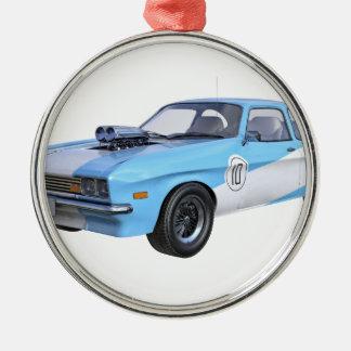 Adorno Metálico coche del músculo de los años 70 en azul y blanco