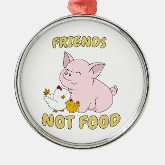 Adorno Metálico Comida de los amigos no - cerdo y pollo lindos