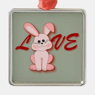 Adorno Metálico Conejo rosado feliz de la lupulización para el día