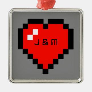 Adorno Metálico corazón de 8 bits (lleno)