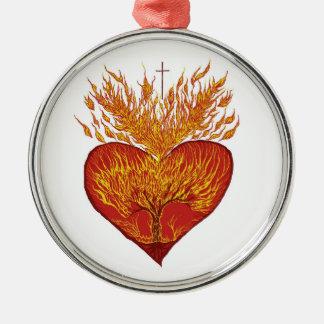 Adorno Metálico Corazón en el fuego