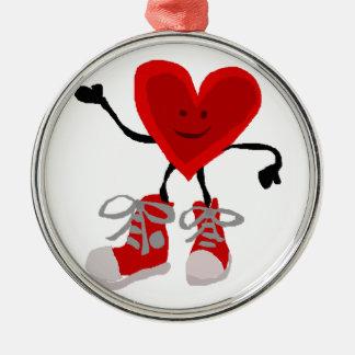 Adorno Metálico Corazón rojo divertido en dibujo animado de las