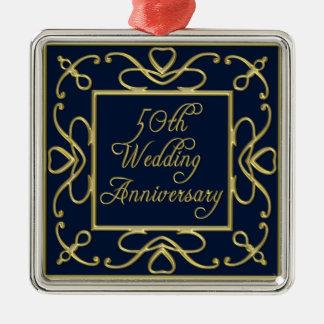 Adorno Metálico Corazones de oro en aniversario de boda del azul