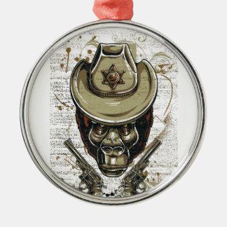 Adorno Metálico cráneo del vaquero del mono con los armas gemelos