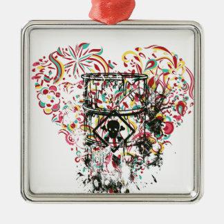 Adorno Metálico cráneo en el vidrio, corazón del vintage