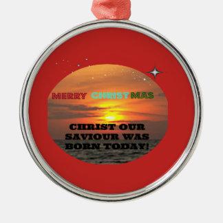 Adorno Metálico Cristo nuestro salvador nació hoy