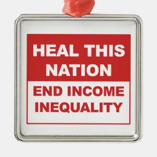 Adorno Metálico Cure esta nación - desigualdad de la renta del