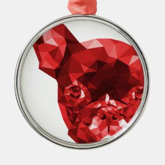 Adorno Metálico de un bulldog francés rojo en low poly art