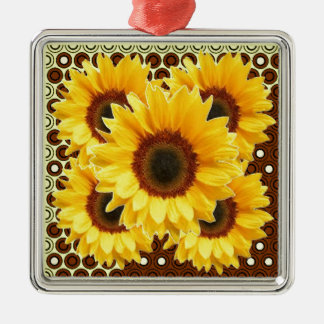 ADORNO METÁLICO DECO DECORATIVO BROWN Y GIRASOL AMARILLO