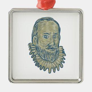 Adorno Metálico Dibujo del busto de sir Walter Raleigh