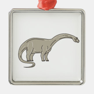 Adorno Metálico Dinosaurio del Brontosaurus que mira abajo de mono