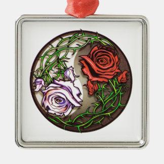 Adorno Metálico Diseño color de rosa del tatuaje del yingyang