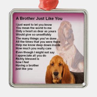 Adorno Metálico Diseño del perro del sabueso y poema de Brother