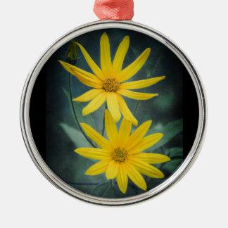 Adorno Metálico Dos flores amarillas de alcachofa de Jerusalén
