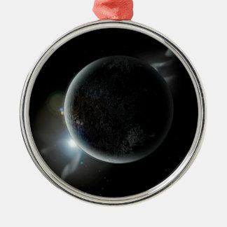 Adorno Metálico ejemplo negro del planeta 3d en el universo