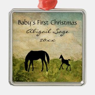 Adorno Metálico El 1r navidad de la yegua del potro del bebé