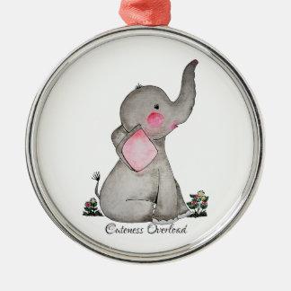 Adorno Metálico El elefante lindo del bebé de la acuarela con se
