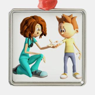 Adorno Metálico Enfermera y Little Boy del dibujo animado