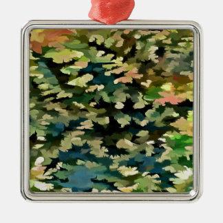Adorno Metálico Extracto del follaje en verde, melocotón y el azul