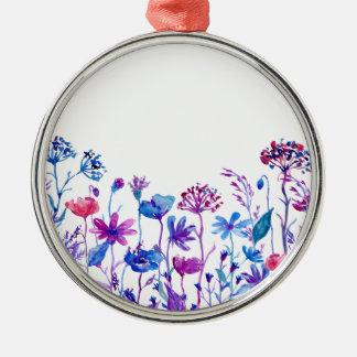 Adorno Metálico Flores púrpuras del campo de la acuarela