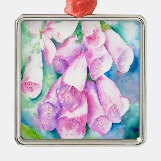 Adorno Metálico Foxgloves rosados de la acuarela