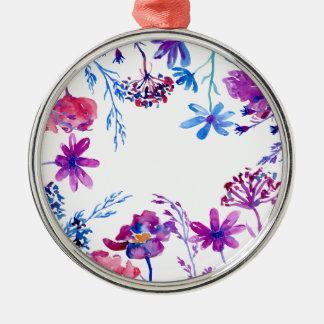 Adorno Metálico Frontera púrpura de la flor de la acuarela