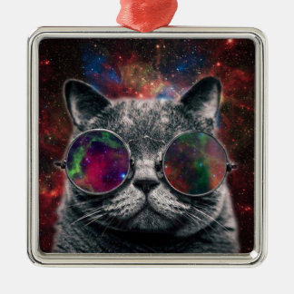 Adorno Metálico Gafas que llevan del gato del espacio delante de