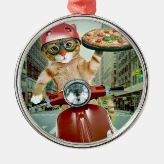 Adorno Metálico gato de la pizza - gato - entrega de la pizza