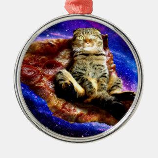 Adorno Metálico gato de la pizza - gato loco - gatos en espacio