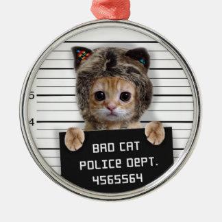 Adorno Metálico gato del mugshot - gato loco - gatito - felino