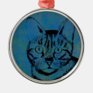 Adorno Metálico Gato incompleto en azul