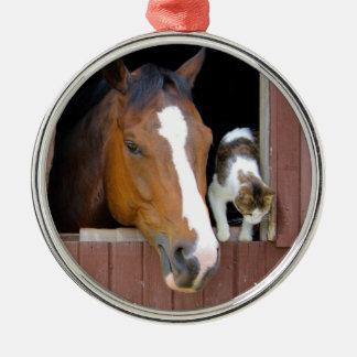 Adorno Metálico Gato y caballo - rancho del caballo - amantes del
